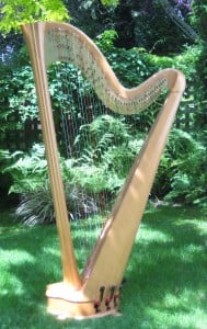 side view of pedal harp